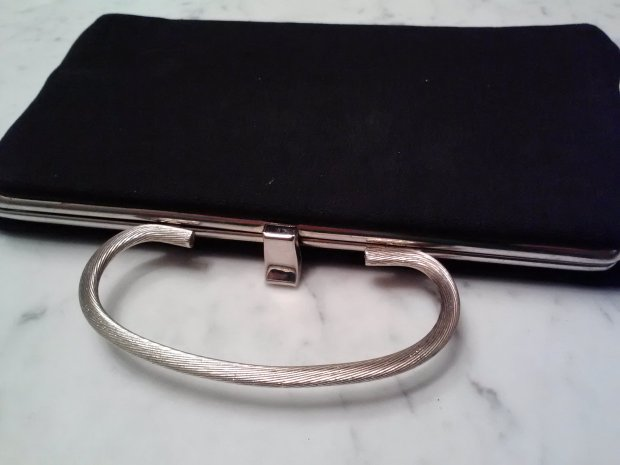 Vintage black purse with silver handle