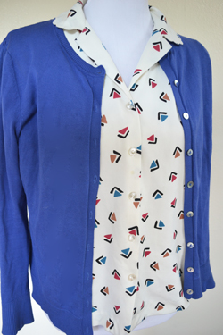 Blue Cardigan and Triangle Print Blouse