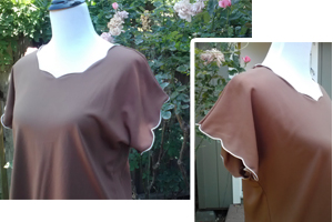 vintage brown polyester top with scalloped edges