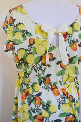 back side of citrus dress