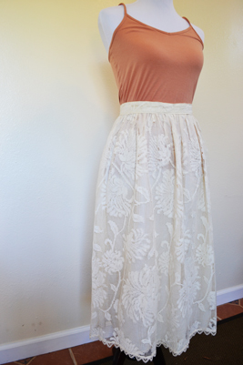 beautiful retro tea length lace skirt