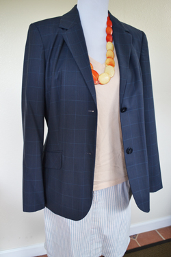 Thrifted: Navy Blazer, Striped Denim Skirt, Peach V-Neck Shirt, Orange Necklace