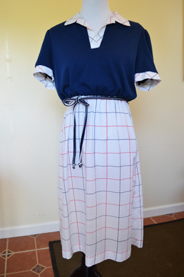 retro navy shirt dress