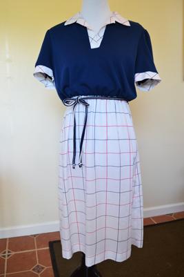 retro navy shirt dress