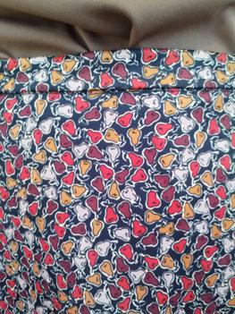 tea-length pear pattern skirt from Petaluma Goodwill