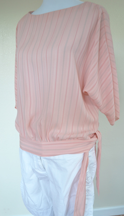 Vintage Pink Blouse and White Shorts