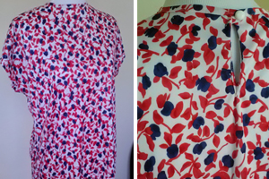 vintage red, white and blue flower print top