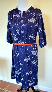 Vintage Blue Floral Dress with Orange Belt from Salvation Army in Healdsburg