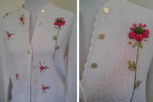 vintage white cardigan with pink floral detail, Goodwill Rohnert Park
