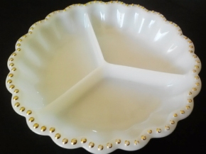 Retro Milk Glass Divided Serving Bowl