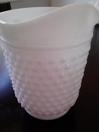 milk glass antique retro hobnail pitcher
