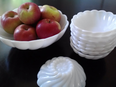 milk glass antique retro dessert bowl set