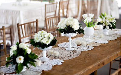 wedding style burlap and lace vintage doilies