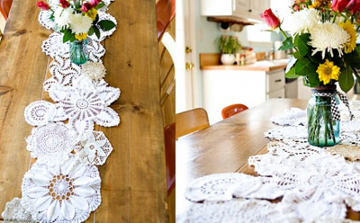 wedding style burlap and lace doilies