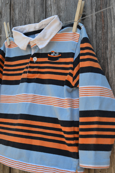 boys clothing, Gymboree blue and orange striped long-sleeve polo, back-to-school shopping