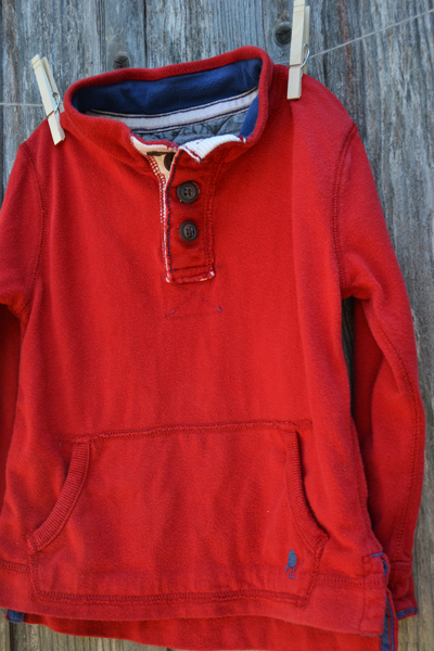 boys clothing, red cotton henley sweatshirt, back-to-school shopping